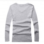Grey Black White Skulls Punk Rock V Neck Long Sleeves Knit Mens Sweater