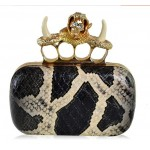Black Brown Snake Skin Bone Diamante Skulls Ring Punk Rock Gothic Evening Clutch Purse