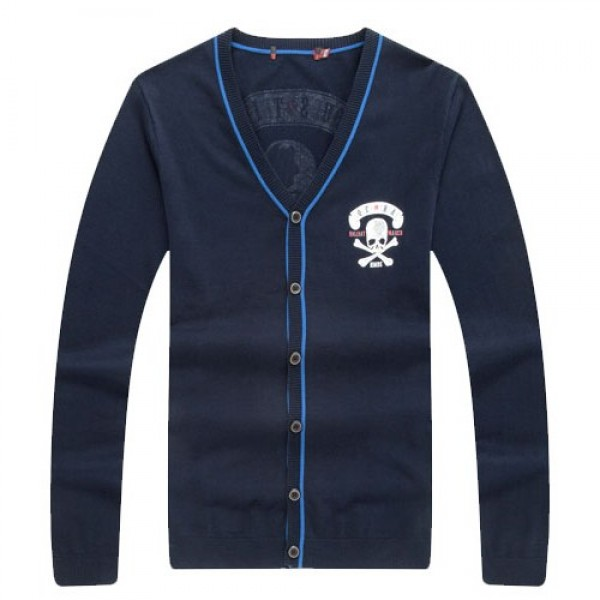 Blue Navy Skulls Punk Rock Long Sleeves Knit Mens Sweater Cardigan