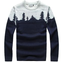 Blue Navy Snow Flakes Forest Snowflakes Long Sleeves Knit Mens Sweater