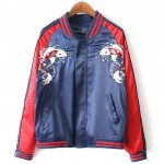 Blue Red Satin Embroidery Koi Fish Baseball Aviator Bomber Rider Jacket