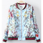 Blue Satin Vintage Blooming in Your Garden Baseball Aviator Bomber Rider Jacket