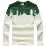 Green White Snow Flakes Forest Snowflakes Long Sleeves Knit Mens Sweater