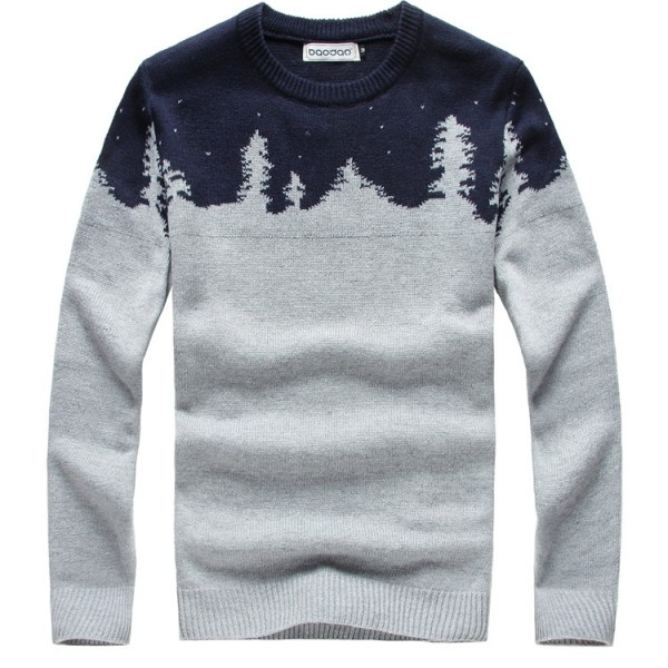 Grey Blue Snow Flakes Forest Snowflakes Long Sleeves Knit Mens Sweater