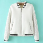 White Black Baseball Aviator Bomber Rider Jacket