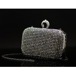 Gold Silver Black Diamante Bling Bling Ring Evening Clutch Purse Jewelry Box