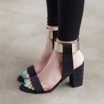 Black Suede Gold Ankle Straps Block Heels Pump Gladiator Sandals Shoes