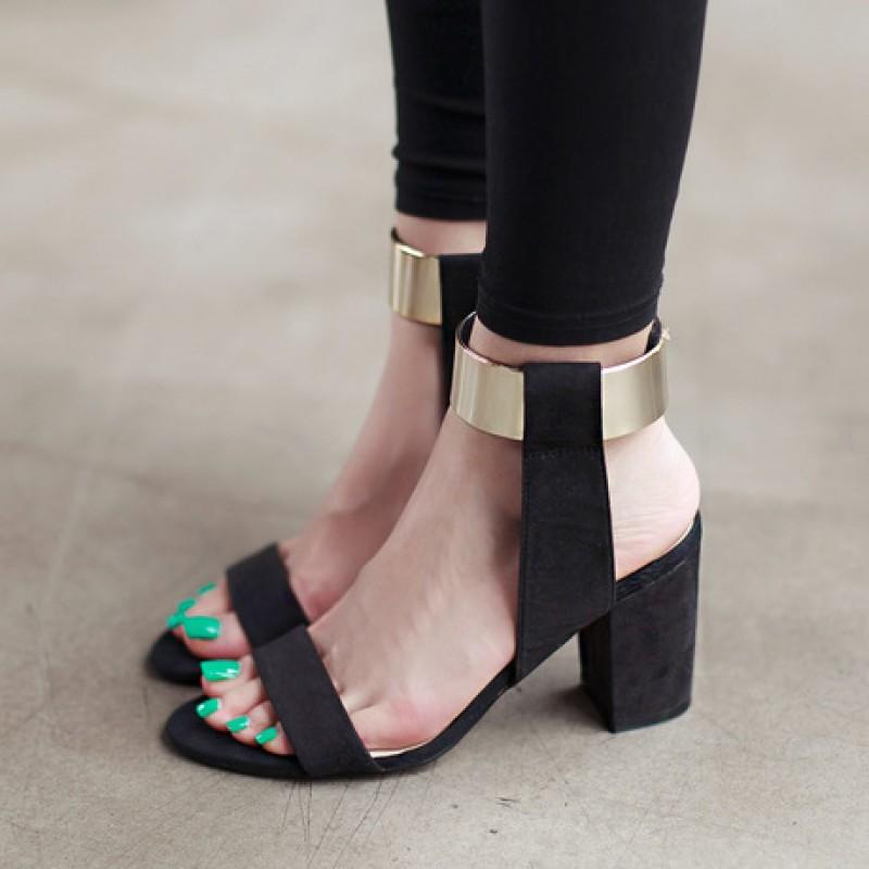 Suede Gold Ankle Straps Block Heels Pump Gladiator Sandals Shoes