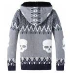 Grey Skulls Skeleton Knitted Long Sleeves Mens Cardigan Hoodie Hooded Jacket