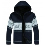 Blue Navy Snowflakes Knitted Long Sleeves Mens Cardigan Hoodie Hooded Jacket