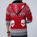 Red Skulls Skeleton Knitted Long Sleeves Mens Cardigan Hoodie Hooded Jacket