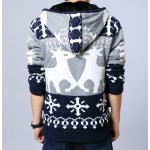 Blue Snowflakes Reindeers Knitted Long Sleeves Mens Cardigan Hoodie Hooded Jacket
