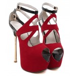 Red Suede Peeptoe Ankle Straps Platforms Gold Stiletto High Heels Sandals Shoes