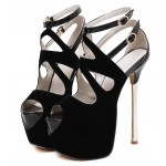 Black Suede Peeptoe Ankle Straps Platforms Gold Stiletto High Heels Sandals Shoes