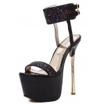 Black Glitter Ankle Straps Bridal Platforms Gold Stiletto High Heels Sandals Shoes