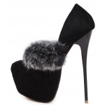 Black Suede Quilted Suede Rabbit Fur Platforms Stiletto High Heels Shoes