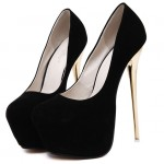 Black Suede Stage Platforms Gold Stiletto High Heels Shoes
