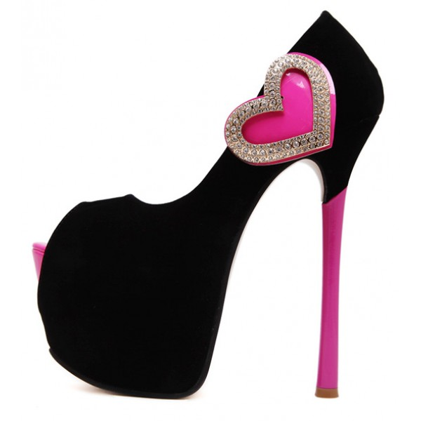 Black Pink Suede Heart Diamante Peep Toe Platforms Stiletto High Heels Shoes
