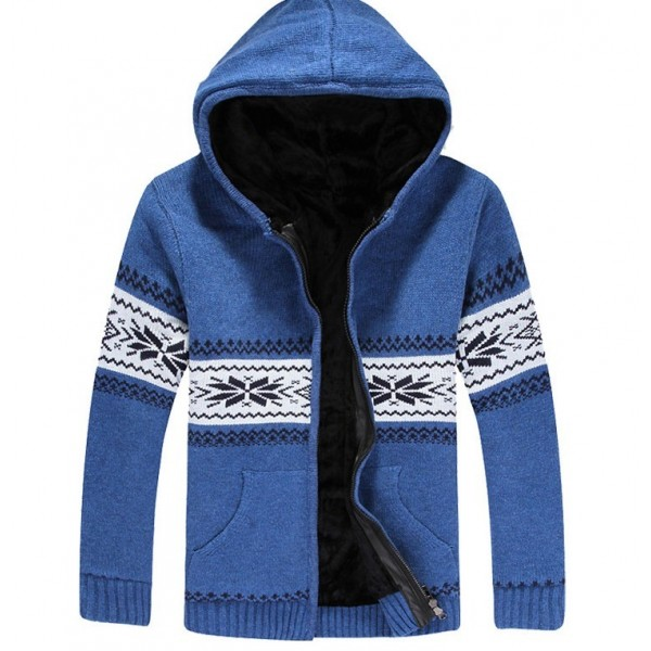 Blue Snowflakes Old School Knitted Long Sleeves Mens Cardigan Hoodie Hooded Jacket