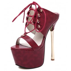 Burgundy Lace Up Platforms Gold Stiletto High Heels Sandals Shoes