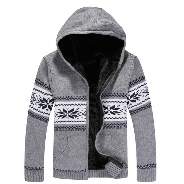 Grey Snowflakes Old School Knitted Long Sleeves Mens Cardigan Hoodie Hooded Jacket
