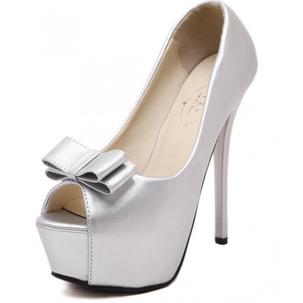 Silver Bow Bridal Peeptoe Platforms Stiletto High Heels Shoes