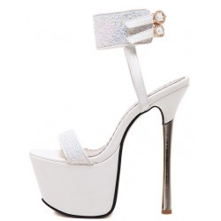 White Glitter Ankle Straps Bridal Platforms Gold Stiletto High Heels Sandals Shoes