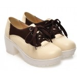 Cream Brown Vintage Chunky Sole Block Lace Up Heels Platforms Oxfords Shoes