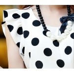 White Black Polka Dot Ruffles Sleeveless Shirt Blouse