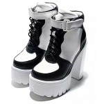 White Black Sneakers Block Chunky Sole High Heels Platforms Boots Shoes