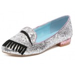 Silver Sequins Eyes Eyelash Bling Bling Loafers Flats Shoes
