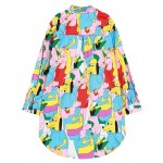 Blue Yellow Dogs Long Sleeves Chiffon Blouse Oversized Boy Friend Shirt