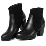 Black Suede Ankle Point Head Chelsea Heels Boots Shoes
