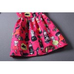 Pink Fushia Cats Cartoon Sleeveless A Line Skater Mini Party Cocktail Skirt Dress