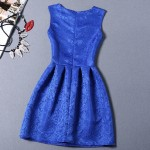 Blue Baroque Vintage Sleeveless A Line Skater Mini Party Cocktail Skirt Dress