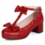Red Heart Bow T Straps Sweet Mary Jane Heels Shoes