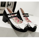 Black White Bow Lace Trim Double Straps Sweet Lolita Mary Jane Heels Shoes