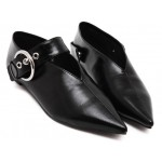 Black Metal Buckle Point Head Loafers Flats Shoes