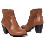 Brown Suede Ankle Point Head Chelsea Heels Boots Shoes