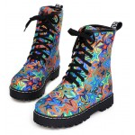 Blue Stars Lace Up High Top Military Combat Rider Boots