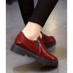 Burgundy Red Patent Leather Flats Loafers Shoes