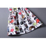 White Cats Cartoon Sleeveless A Line Skater Mini Party Cocktail Skirt Dress