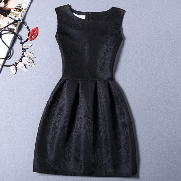 Black Baroque Vintage Sleeveless A Line Skater Mini Party Cocktail Skirt Dress