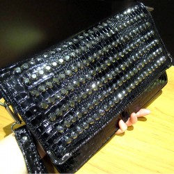 Black Blunt Studs Punk Rock Gothic Oversized Envelope Clutch Bag Purse