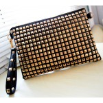 Black Gold Square Studs Punk Rock Gothic Oversized Envelope Clutch Bag Purse