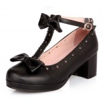 Black Heart Bow T Straps Sweet Mary Jane Heels Shoes