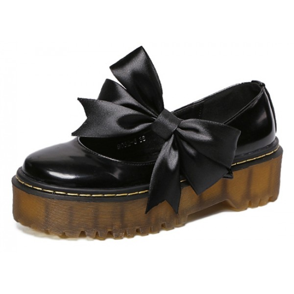 Black Patent Leather Satin Bow Platforms Flats Loafers Shoes