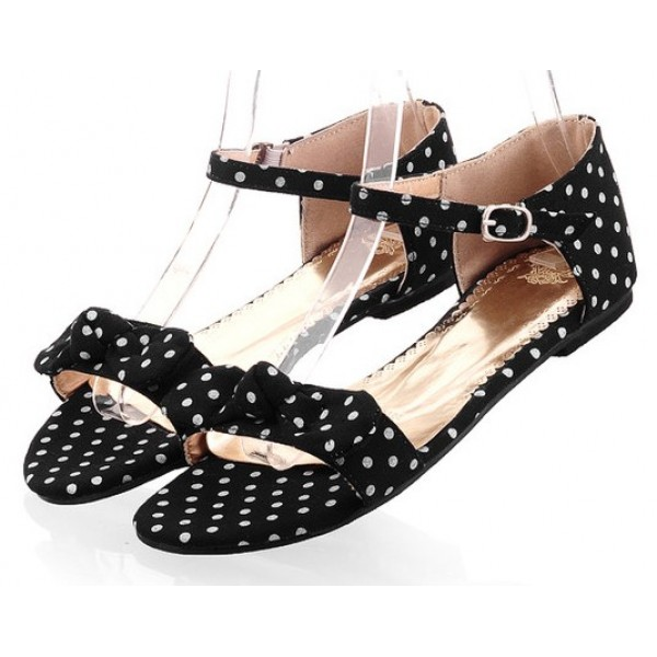Black Polkadots Polka Dots Bow Flats Summer Sandals Shoes