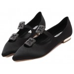 Black Satin Diamonte Square Buckles Point Head Evening Party Flats Shoes