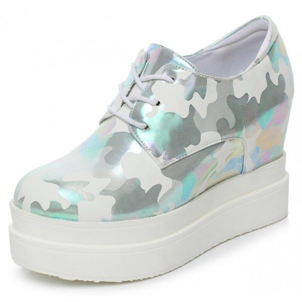 Blue Metallic Camouflage Lace Up Platforms Wedges Oxfords Sneakers Shoes
